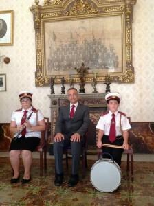 Mariah Treeby u Thomas Farrugia flimkien ma' Mro Jonathan Abela bħala bandisti ġodda mal-Banda San Lawrenz fis-sena 2015